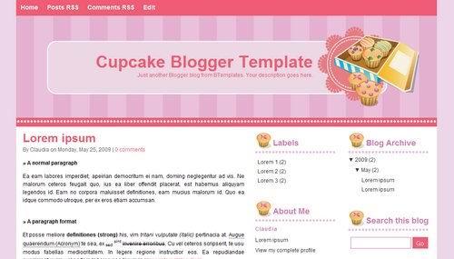 cupcake Pink Blogger Templates