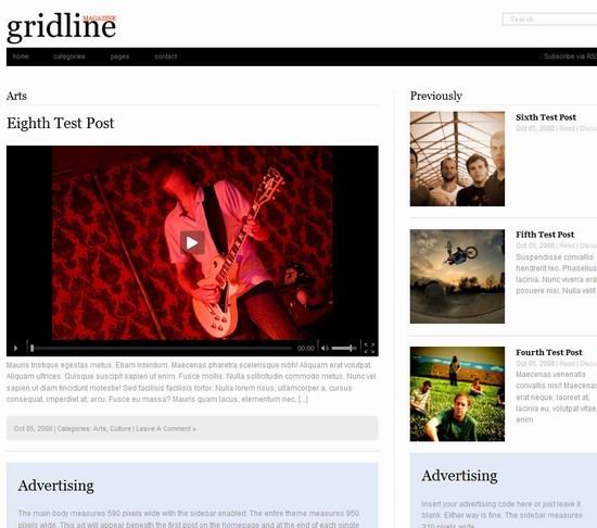wordpress magaine template gridline