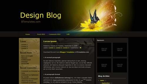 3 Columns blogger dark theme Design-Blog