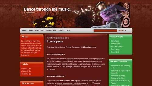 3 Columns blogger red theme dance-through-the-music