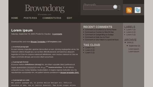 cool blogspot 3 Columns theme Browndong