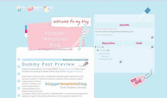 Baby Blue Blogger Template