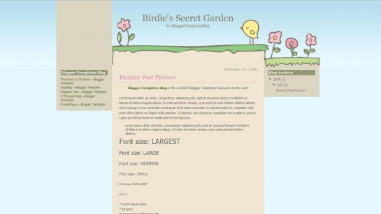 10 free cute kids blogger templates dobeweb birdies secret garden blogger template 555x312 pronofoot35fo Images