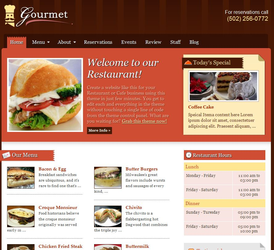 Restaurant WordPress Theme:Gourmet