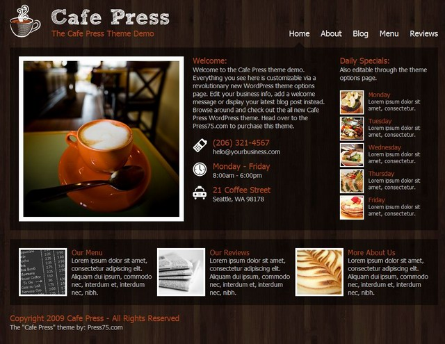Cafe Press Theme for cafe shop