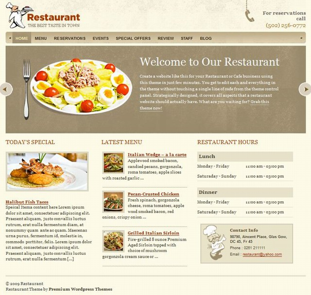 Templatic WordPress Theme:Restaurant