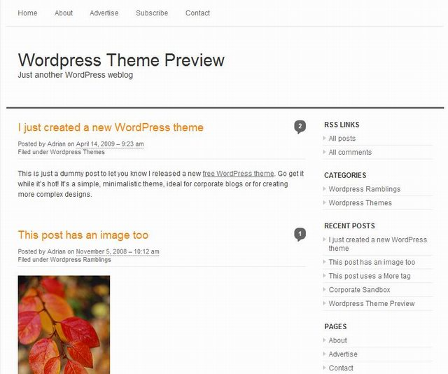 simple clean wordpress theme
