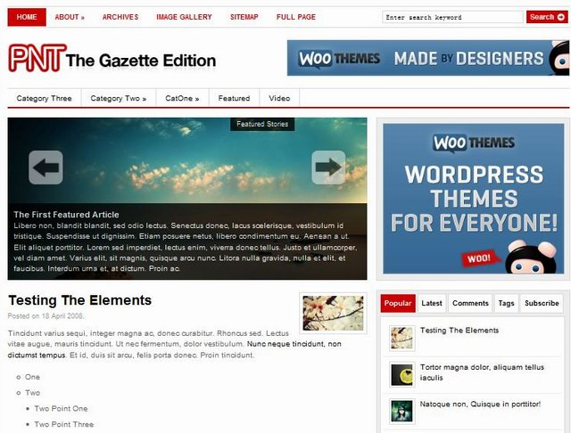 wordpress newspaper template the gazette