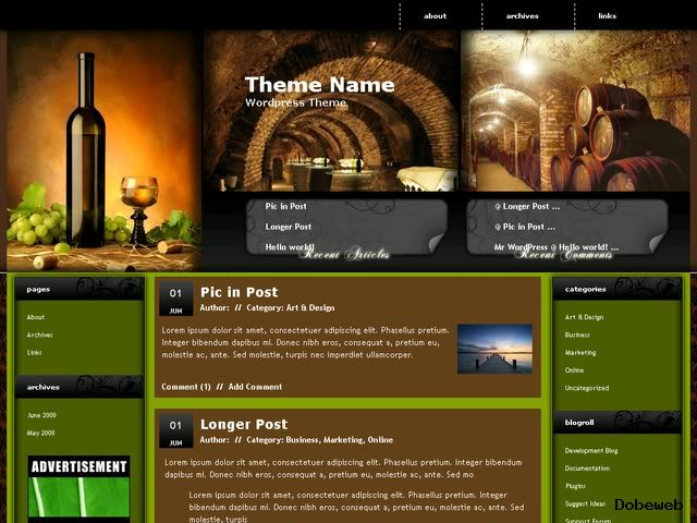 Free WordPress Theme for wine drinking websites
