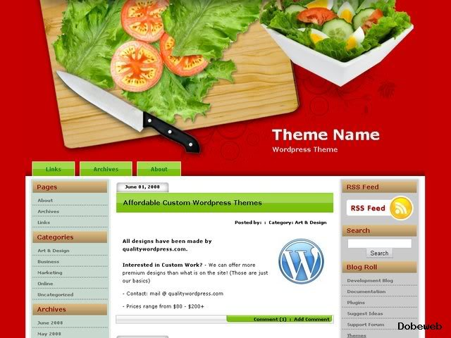 Free Food WordPress Theme - Cutting Board