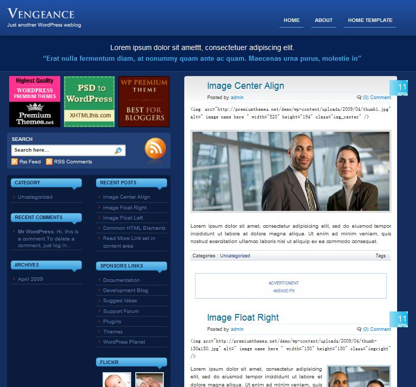 blue wordpress template vengance