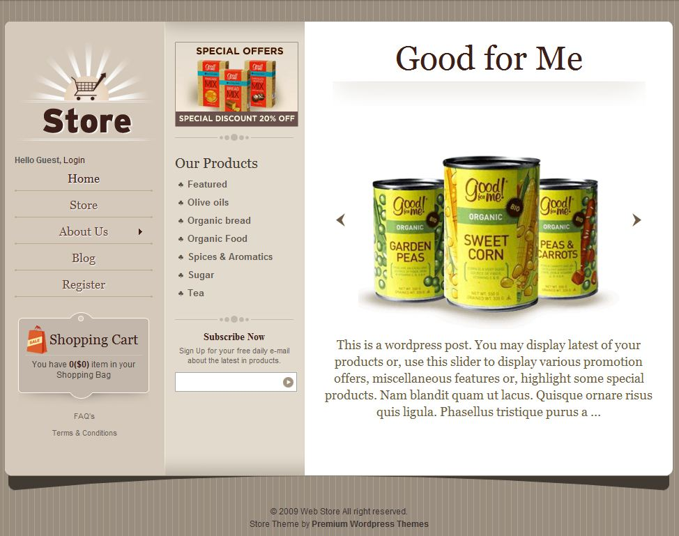 wordpress theme ecommerce