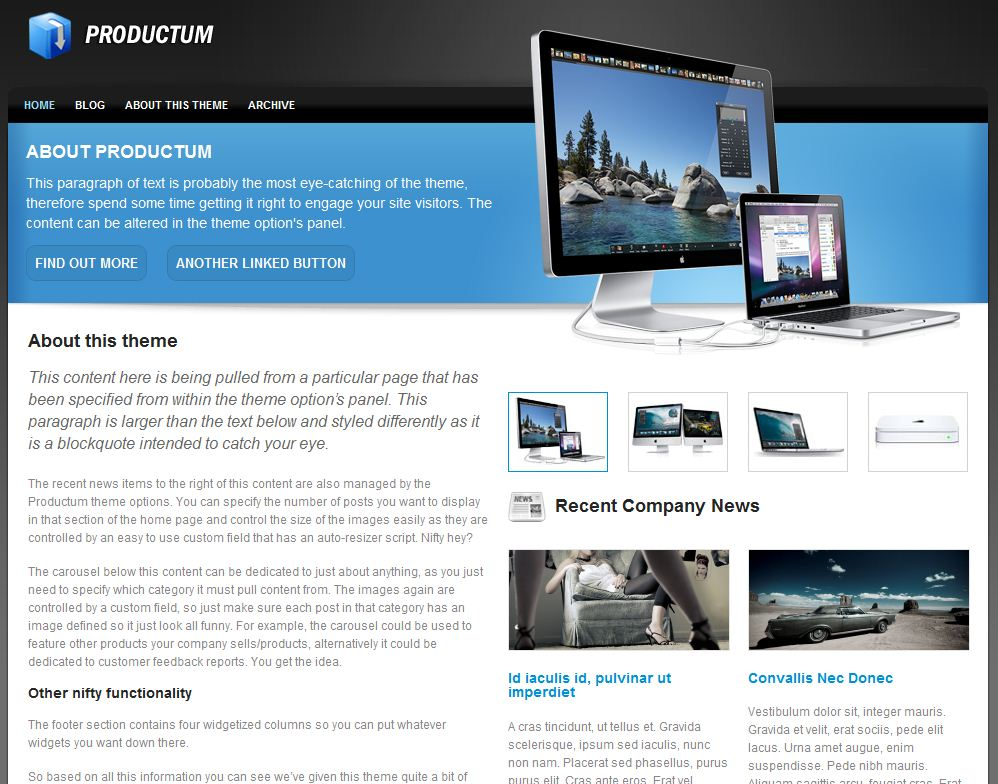 wp cms products theme productum