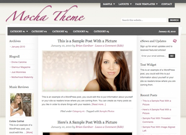 women mocha wordpress theme