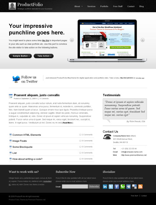 Product Folio Premium WordPress Theme