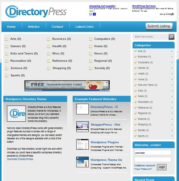 Directory wordpress theme DirectoryPress