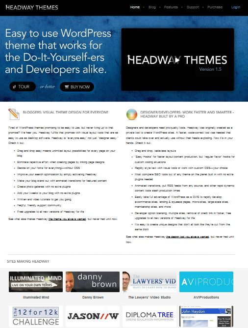headway cms wordpress theme