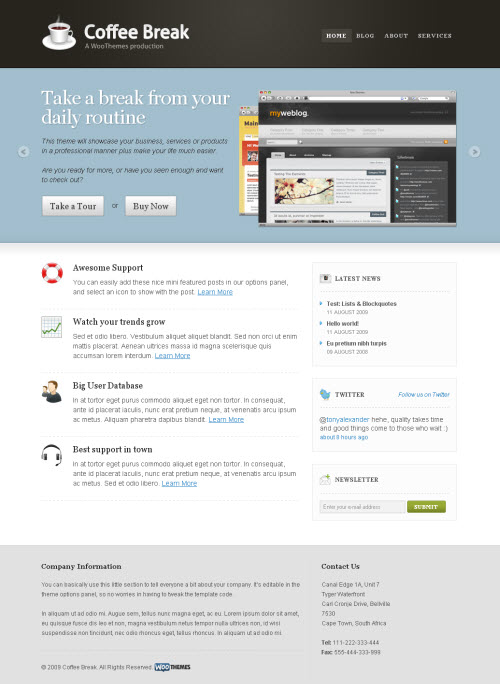 Classy Corporate/Business/Portfolio WordPress Theme Coffee Break  picture