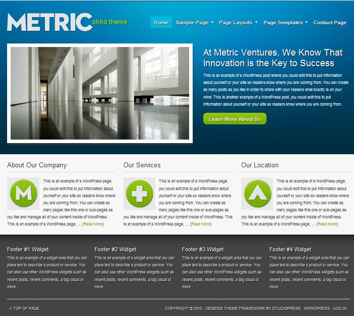business cms wordpress theme metric picture