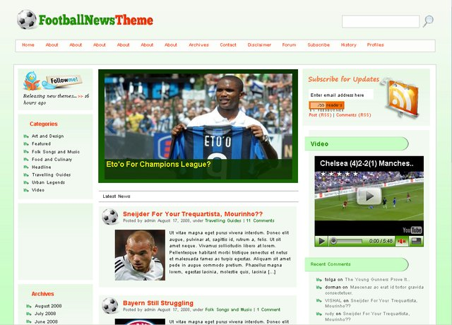 Free Football WordPress Theme – Dobeweb