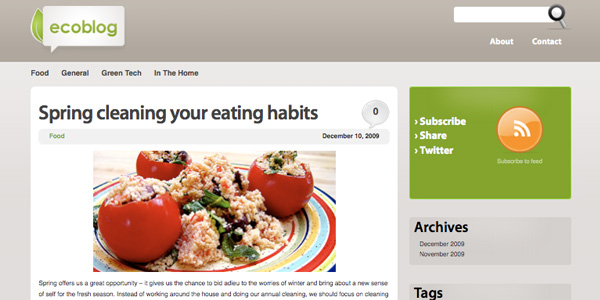 ecoblog 20 Excellent Free WordPress 3.0 Themes