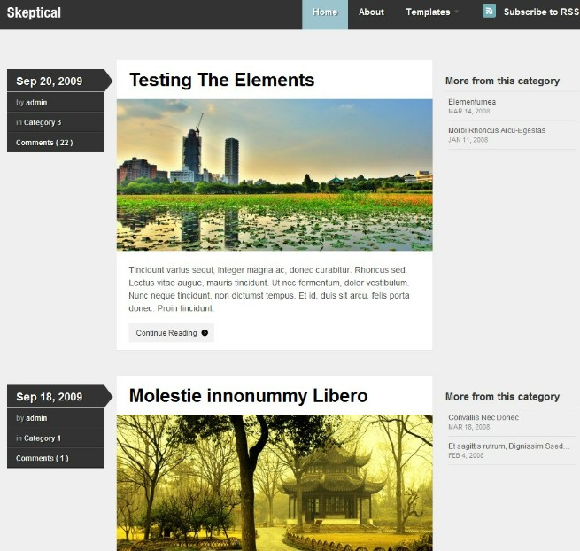 3 column clean wordpress theme
