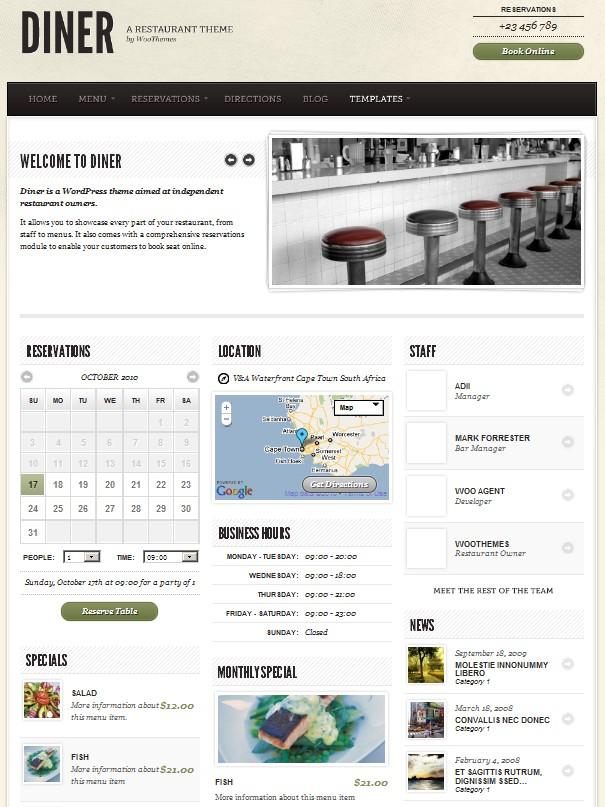 restaurant bar wordpress theme
