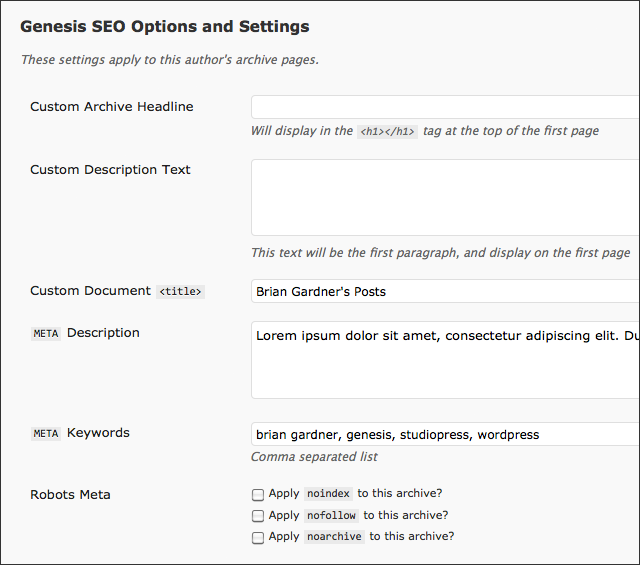 Genesis User SEO Settings