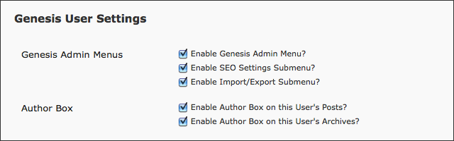 Genesis User Settings