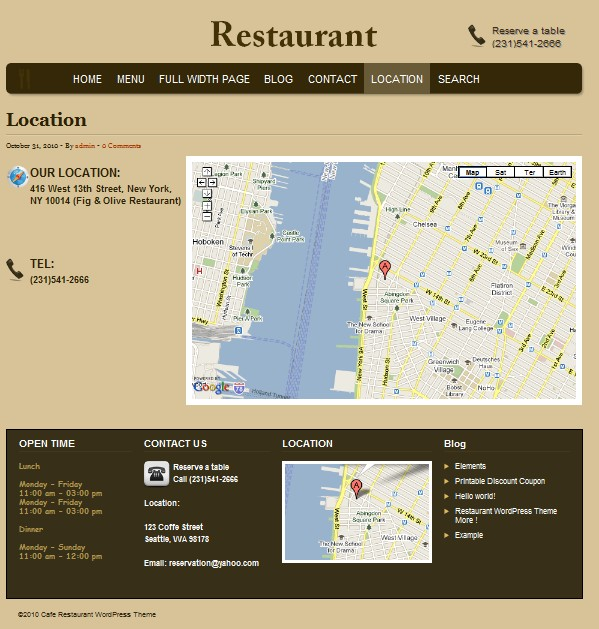 cafe wordpress theme location
