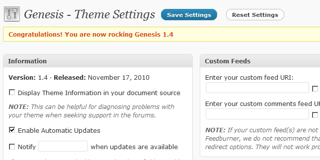 genesis theme backend