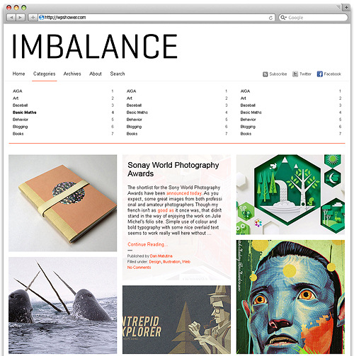 Imbalance2 in 100 Free High Quality WordPress Themes: 2010 Edition