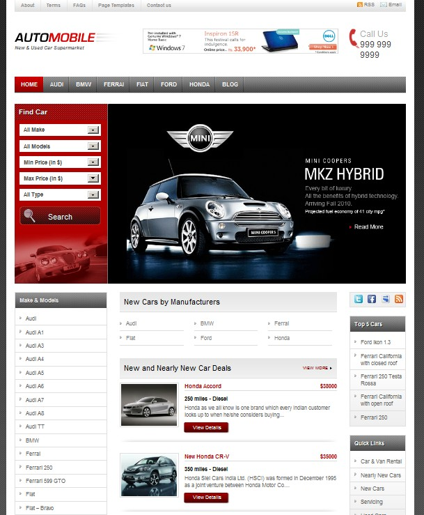 Automobile CMS WordPress Theme For Car Websites Dobeweb - Cool car websites