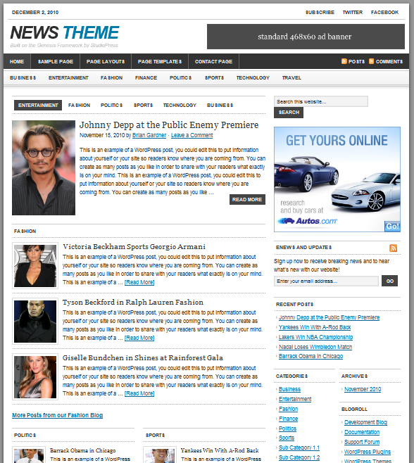 news wordpress theme studiopress