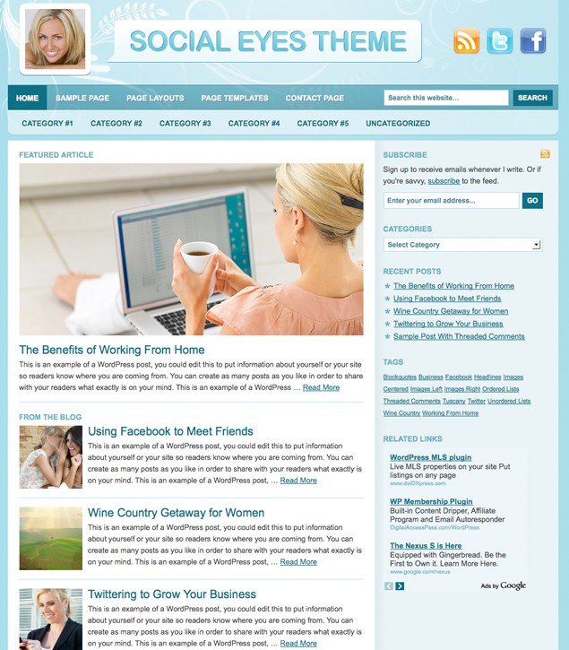Studiopress Social Eyes WordPress Theme for Blog Sites