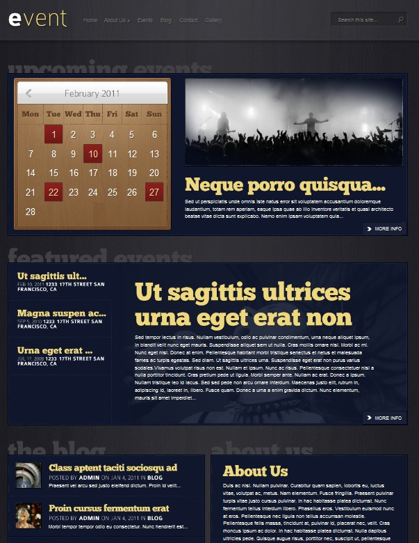 events cms wordpress theme