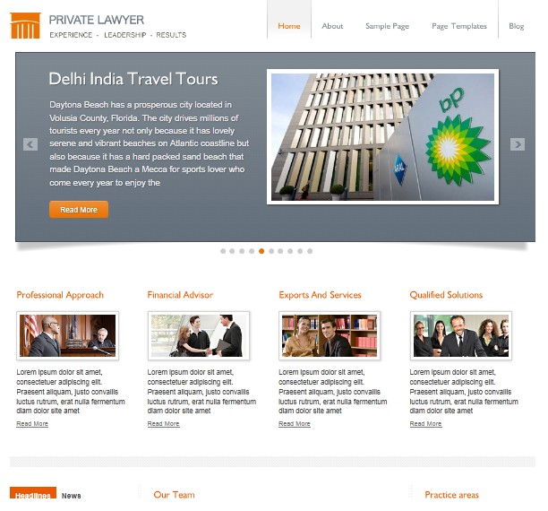 private lawyer cms wordpress theme