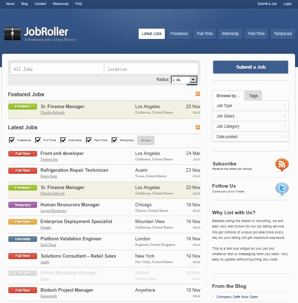 job listing wordpress theme