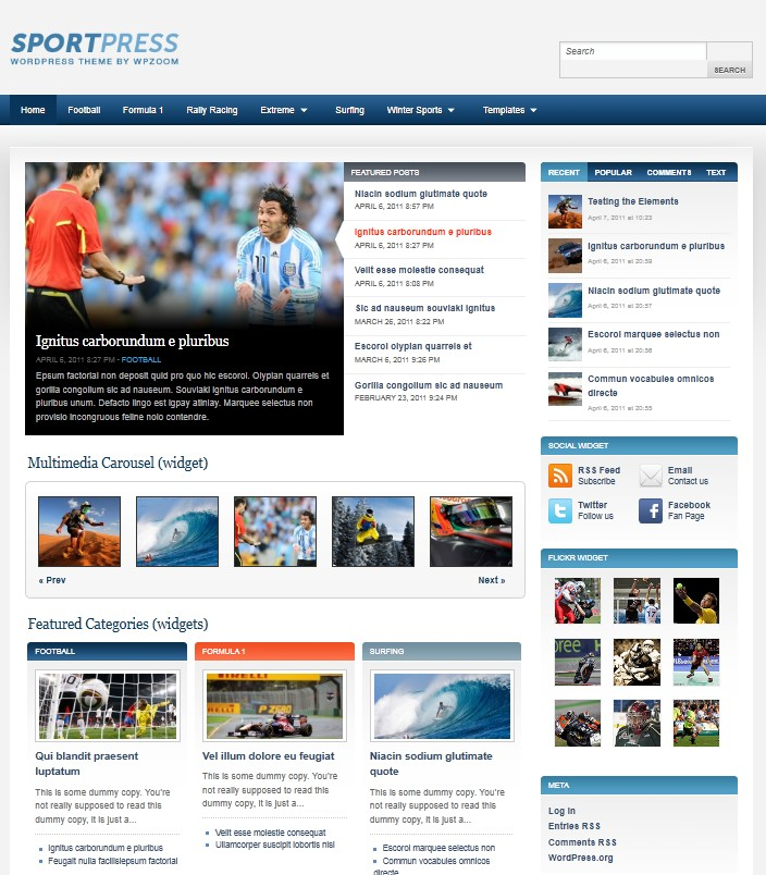 sports wordpress theme sportpress