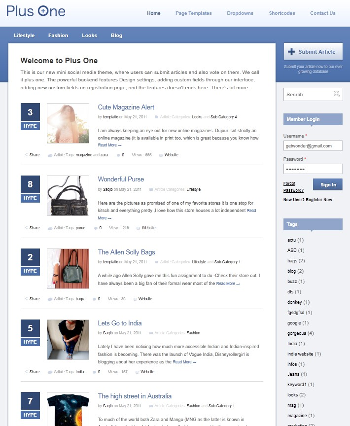 social media wordpress theme plus one