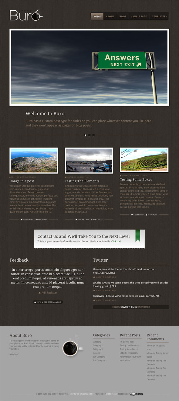 buro premium wordpress theme from woo themes dobeweb