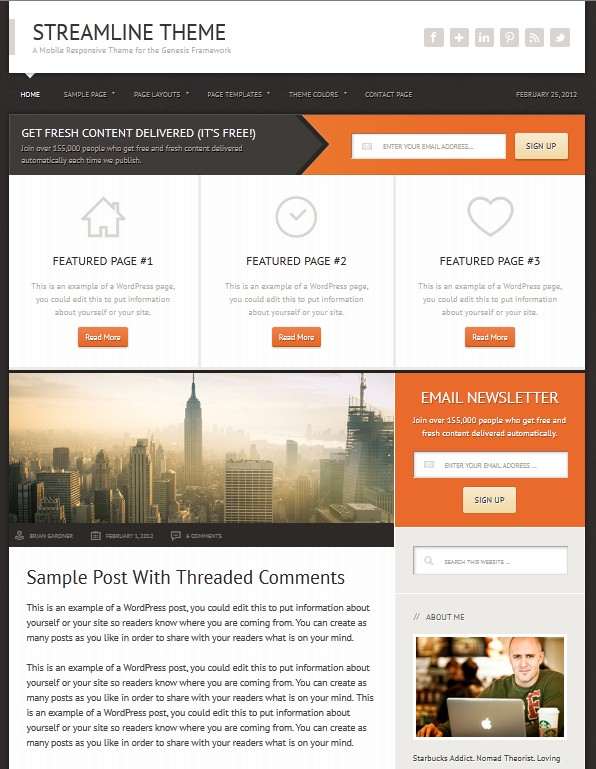 Modern Sleek wordpress theme