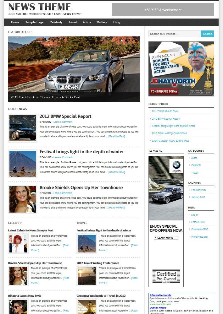 WordPress magazine theme 2012
