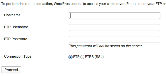 wordpress ftp username password